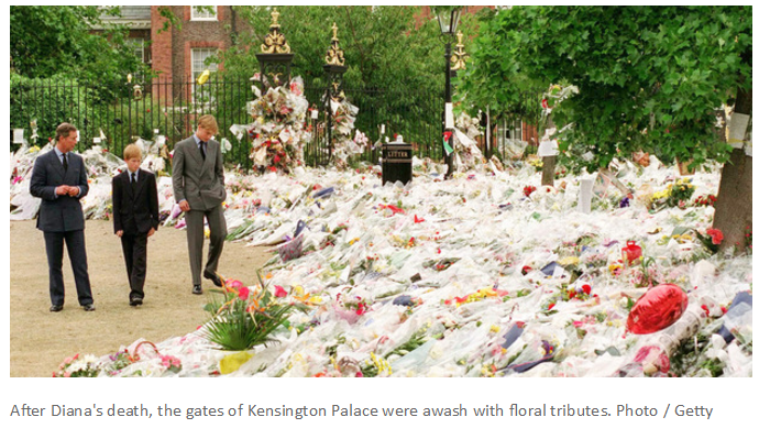 After Diana's death, the gates of Kensington Palace were awash with floral tributes