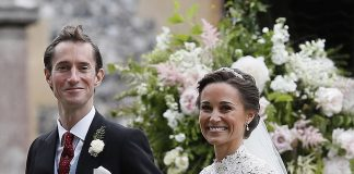 Bride Pippa Middleton and her new husband James Matthews cheer and wave as they leave the private estate