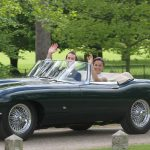 Bride Pippa Middleton and her new husband James Matthews cheer and wave as they leave the private estate 0012