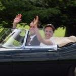 Bride Pippa Middleton and her new husband James Matthews cheer and wave as they leave the private estate 0013