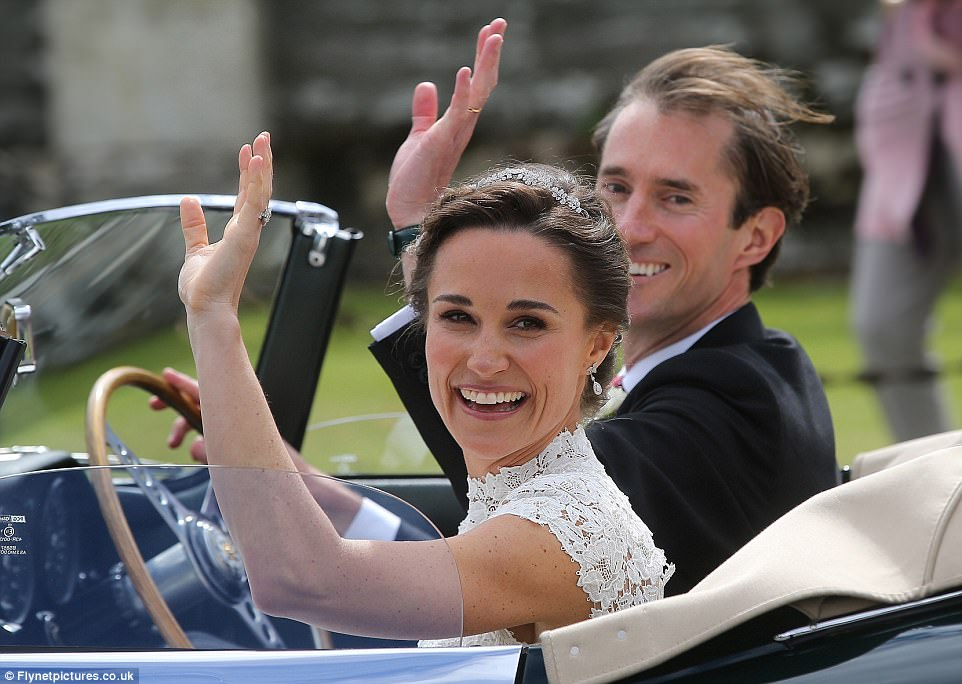 Bride Pippa Middleton and her new husband James Matthews cheer and wave as they leave the private estate 0023
