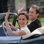 Bride Pippa Middleton and her new husband James Matthews cheer and wave as they leave the private estate 0024