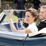 Bride Pippa Middleton and her new husband James Matthews cheer and wave as they leave the private estate 0031