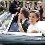 Bride Pippa Middleton and her new husband James Matthews cheer and wave as they leave the private estate 0032