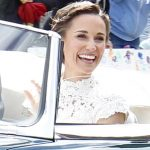 Bride Pippa Middleton and her new husband James Matthews cheer and wave as they leave the private estate 0036