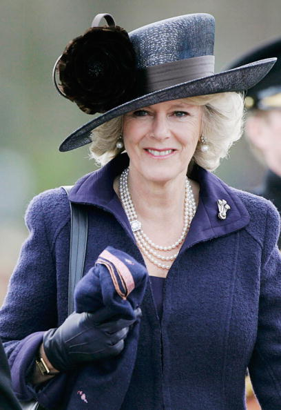 SURREY, ENGLAND - APRIL 12: Camilla, Duchess of Cornwall attends the Sovereign's Parade at Sandhurst Military Academy on April 12, 2006 in Surrey, England. (Photo by Tim Graham/Getty Images)