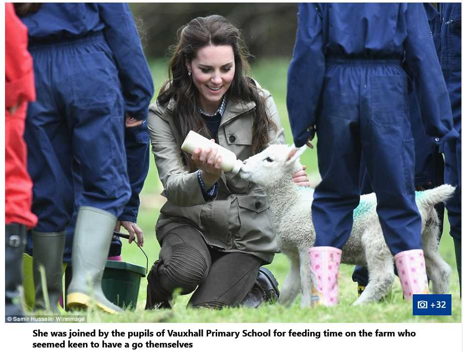 Catherine Duchess of Cambridge Feeding Little lamb