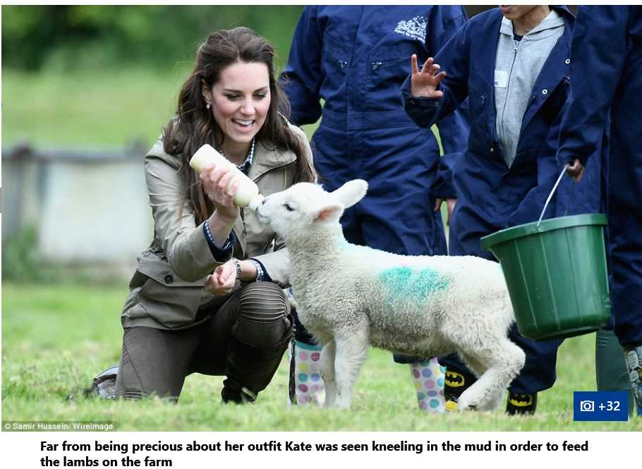 Catherine Duchess of Cambridge Feeding lamb