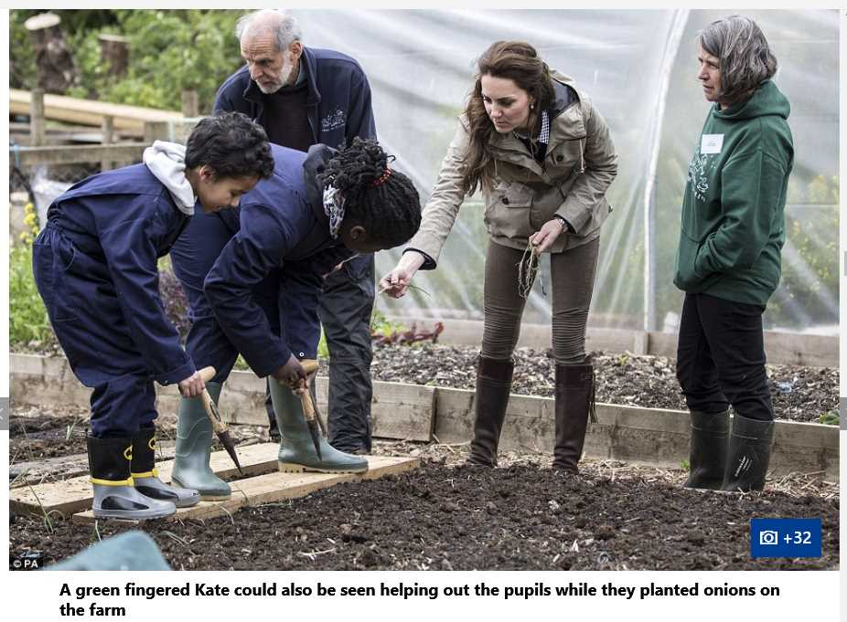 Catherine Duchess of Cambridge Planting with Children