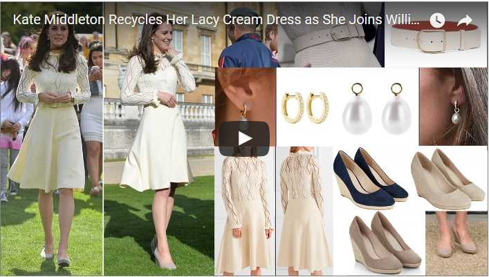 Catherine Duchess of Cambridge Recycles Her Lacy Cream Dress as She Joins William and Harry at Tea Party