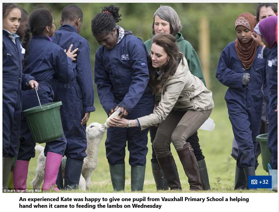 Catherine Duchess of Cambridge helps in feeding animals