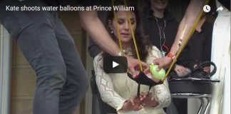 Catherine Duchess of Cambridge shoots water balloons at Prince William
