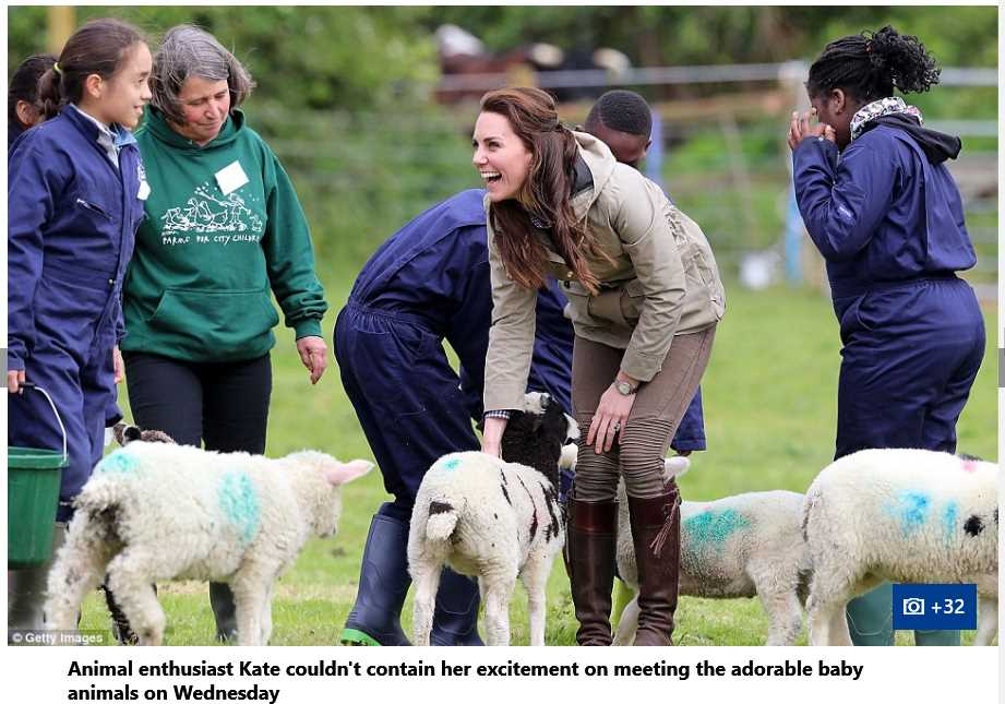 Catherine Duchess of Cambridge with School Children