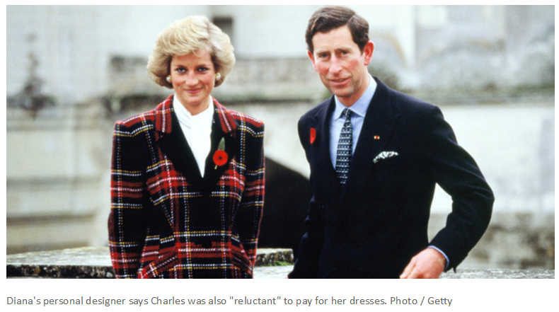Dianas personal designer says Charles was also reluctant to pay for her dresses