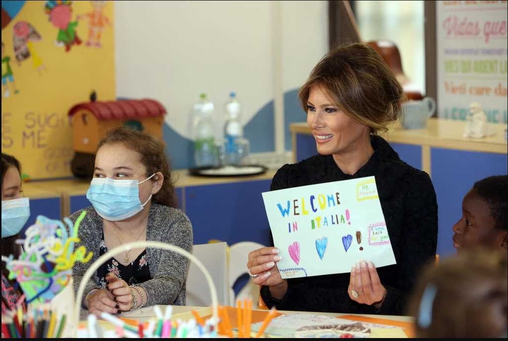 First lady Melania Trump visits the Pediatric Hospital Bambino Gesu in Vatican City. (Photo by Franco Origlia/Getty Images)