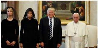 Ivanka Trump First Lady Melania Trump and President Donald Trump stand with Pope Francis during a meeting at the Vatican on May 24 2017. Evan Vucci—AP