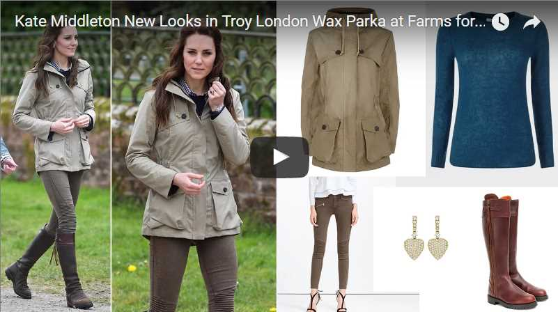 Kate Middleton New Looks in Troy London Wax Parka at Farms for City Children in Gloucester
