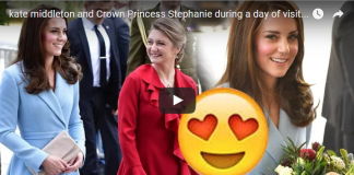 Kate Middleton and Crown Princess Stephanie during a day of visits in Luxembourg