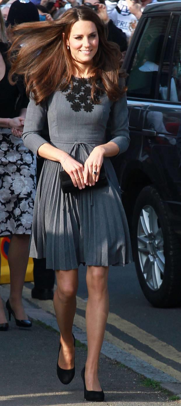 Kate wears Birdie jacquard shirt dress by Orla Kiely Photo C GETTY IMAGES