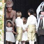 Kate was all smiles as she escorted the page boys and bridesmaids including daughter Charlotte into the church