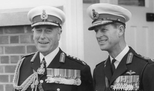 Lord Mountbatten and Prince Philip in Royal Marines uniforms Photo (C) GETTY