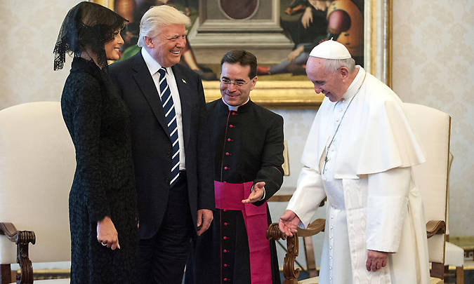 Melania and her husband met Pope Francis at the Vatican. The first lady and His Holiness joked about the president's diet during their meeting. Photo (C) VATICAN POOL, GETTY IMAGES