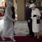 One is not amused The Queen eyes up the Turkish Presidents wifes ankle boots with six inch heels