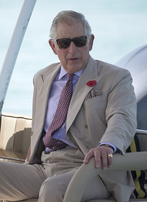 Prince Charles visited Bu Tinah island, a UNESCO protected marine area. he saw a variety of birds including Socotra Cormorants , and a Turtle. He also watched as a ranger opened an Oyster to reveal a pearl with Dr Shakha Salem al Dhahen Director of Marine Biodiversity Picture Arthur Edwards