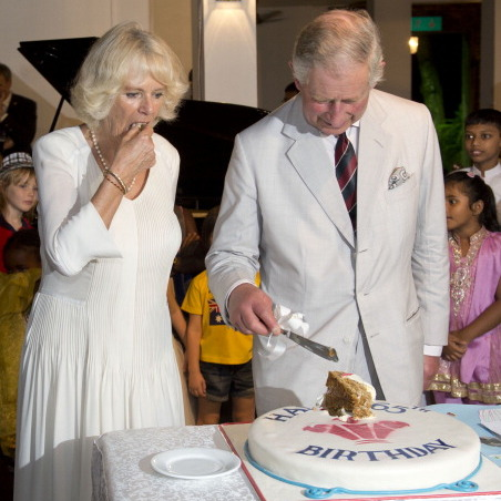 COLOMBO, SRI LANKA - NOVEMBER 14: Prince Charles, Prince of Wales cuts his 65th Birthday cake as Camilla, Duchess of Cornwall looks on during a reception at the British High Commission on November 14, 2013 in Colombo, Sri Lanka. The Royal couple are visiting Sri Lanka in order to attend the 2013 Commonwealth Heads of Government Meeting. (Photo by Arthur Edwards - Pool/Getty Images)