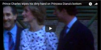 Prince Charles wipes his dirty hand on Princess Diana's bottom
