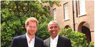 Prince Harry hosted former US President @BarackObama at Kensington Palace today Photo (C) TWITTER