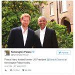 Prince Harry hosted former US President @BarackObama at Kensington Palace today.
