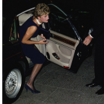 Princess Diana 1961 1997 arrives wearing a navy shift dress at a film premiere London 23rd September 1993