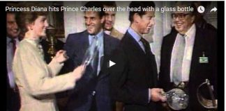 Princess Diana hits Prince Charles over the head with a glass bottle