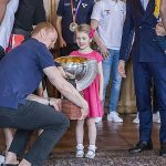 Princess Estelle and Prince Oscar steal the show while meeting Swedish National Ice Hockey team. Photo C REX