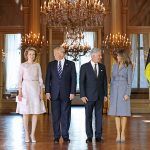 Queen Mathilde and King Philippe welcomed the president and first lady to the royal palace in Brussels. Photo C BENOIT DOPPAGNE AFP GETTY IMAGES