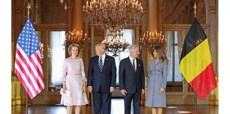 Queen Mathilde and King Philippe welcomed the president and first lady to the royal palace in Brussels. Photo (C) BENOIT DOPPAGNE, AFP, GETTY IMAGES