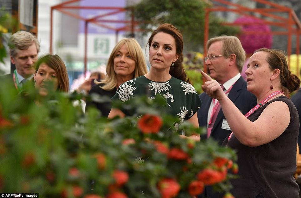 She played a supportive role in sister Pippa's wedding over the weekend, right, but there was no rest for the Duchess of Cambridge as she arrived at Chelsea Flower Show in London on Monday afternoon