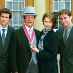 Sir Roger is pictured with his children Geoffrey Deborah and Christian after he was appointed CBE at Buckingham Palace in 2003
