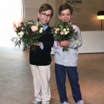 Six year old twins Gabriel and Charles presented The Duchess and Princess Stéphanie with a posy Photo C KENSINGTONROYAL TWITTER