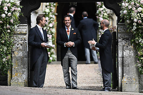 Spencer Matthews, the groom's brother, prepares to greet guests Photo (C) GETTY IMAGES