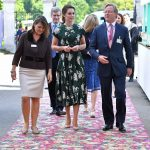 The Duchess of Cambridge looked chic in a £1500 Rochas dress as she chatted with Royal Horticultural Society RHS judge Mark Fane R at the show