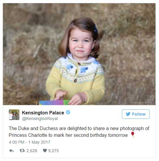 The Duke and Duchess are delighted to share a new photograph of Princess Charlotte to mark her second birthday tomorrow