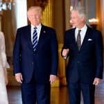 The Queen shared a laugh with the Trumps during their reception at the palace. Photo C THIERRY CHARLIER AFP GETTY IMAGES