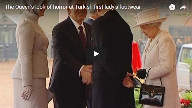 The Queens look of horror at Turkish first ladys footwear