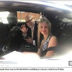 The duo made their way to the Berkshire wedding in a luxury vehicle on Friday