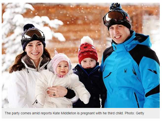 The party comes amid reports Kate Middleton is pregnant with he third child
