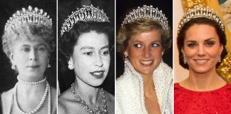 The tiara was made by Royal jewellers Garrard in 1914 to Queen Marys personal design Photo C GETTY IMAGES