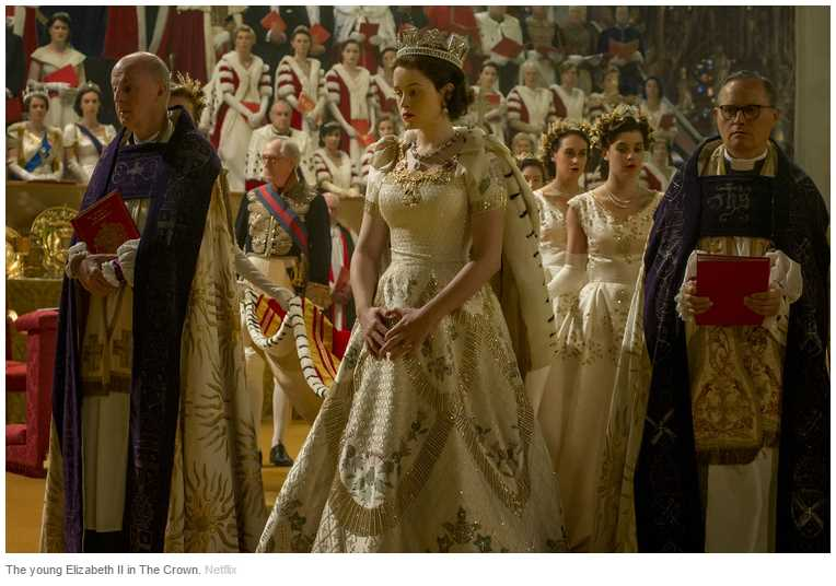 The young Elizabeth II in The Crown