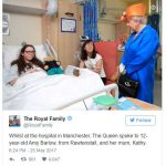 Whilst at the hospital in Manchester The Queen spoke to 12 year old Amy Barlow from Rawtenstall and her mum Kathy. Photo C TWITTER